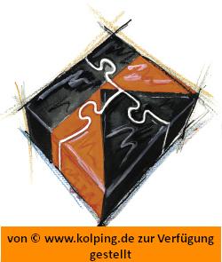 Das Bild zeigt Puzzleteile, die zum Kolping K zusammengesetzt sind