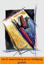 Das Bild zeigt einen Schreibblock, auf dem ein aufgeschraubter Füllfederhalter liegt