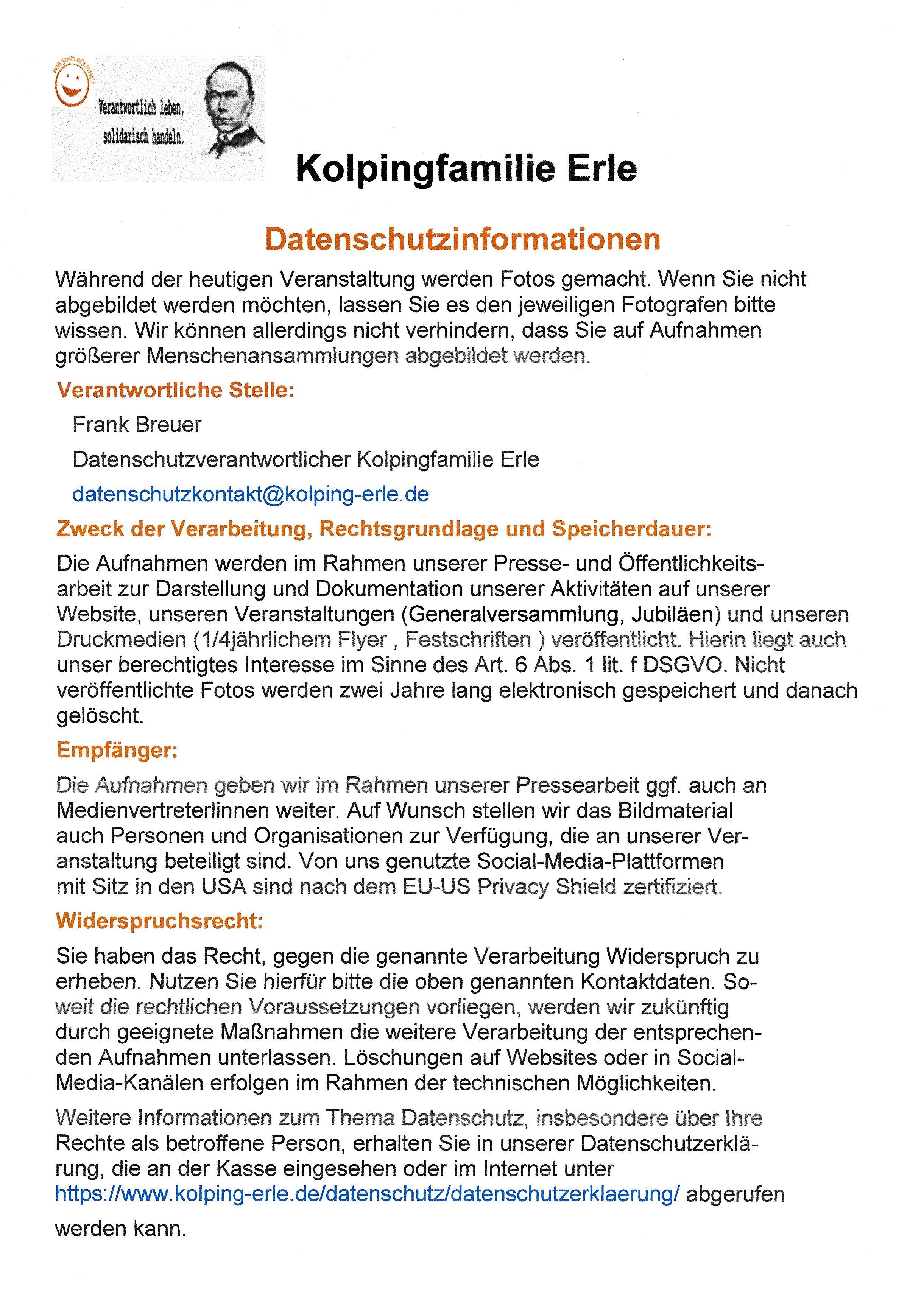 Bild vom DatenschutzAushang für Kolping Veranstaltungen