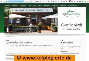 Das Bild zeigt die Webseite der Gaststätte Brömmel-Wilms