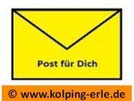 """Das Bild zeigt einen gelben Briefumschlag mit dem Text """"Post für dich"""""""