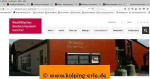 Das Bild zeigt ein Abbild der Webseite des Glockenmuseum Gescher